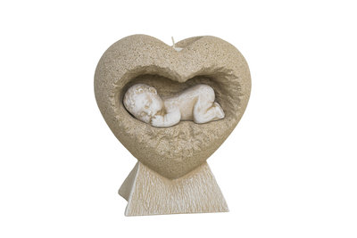 Made for an Angel gedenkbeeldje:  Baby in hart + waxinelicht